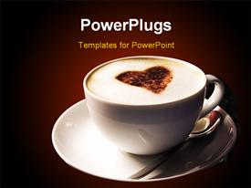 PowerPoint template displaying a cup of coffee with browish background