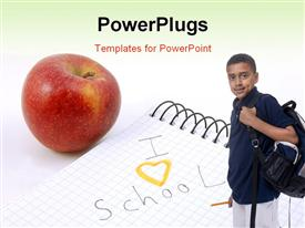 PowerPoint template displaying young lad carrying backpack with red apple and notepad