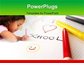 Pad, colorful pens and writing template for powerpoint