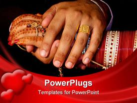 PowerPoint template displaying newly wed Indian couple clasp hands. Shows henna covered brides hand and bangles in the background.