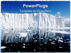 PowerPoint template displaying a view of a large ice berg with some melted parts