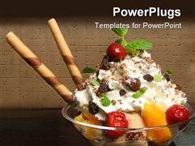 PowerPoint template displaying bowl with ice cream and fruits on the wooden table