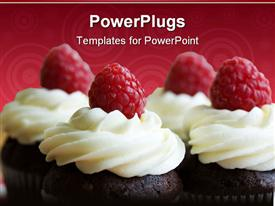 PowerPoint template displaying chocolate cupcakes decorated with fresh cream and raspberries in the background.