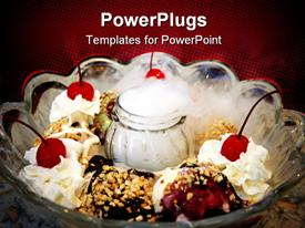 PowerPoint template displaying beautiful cream cakes in the picture with cherries on top