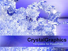 PowerPoint template displaying slice of crystallized ice in the background.