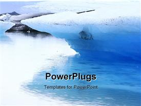 PowerPoint template displaying glacier lake whitish background