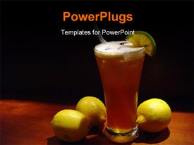 PowerPoint template displaying a cup of drink with three lemons on a table