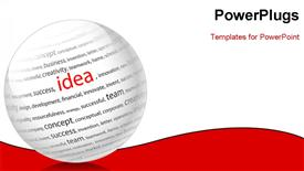 PowerPoint template displaying ball with inscription idea, on a white background