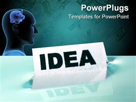 PowerPoint template displaying human head with piggy bank in front of card floating on water with IDEA