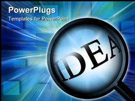 Close up on 'idea' on a dark blue background powerpoint theme