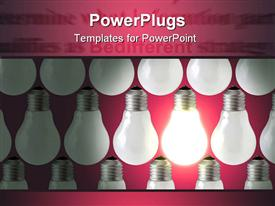 PowerPoint template displaying composition of rows of lamp bulbs over red background. one of the lamps is on
