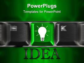 PowerPoint template displaying row of computer keyboard keys with a green bulb key
