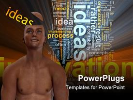 PowerPoint template displaying conceptual man with ideas coming out of his head