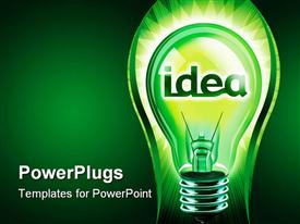 PowerPoint template displaying digital concept of a great idea using a light bulb on glowing background
