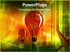PowerPoint template displaying electric bulb in black color