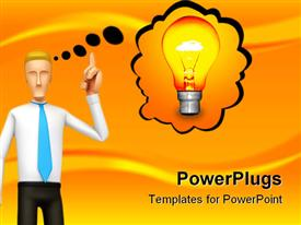 PowerPoint template displaying cartoon man figure with thinking bubble and glowing light bulb depicting an idea