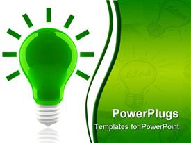 PowerPoint template displaying green light bulb on white background and faded light bulbs with idea word inside on green background