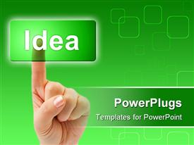 PowerPoint template displaying adult finger clicking on a transparent  green idea tab
