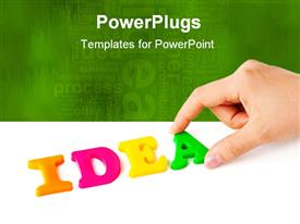 PowerPoint template displaying hand and word Idea - business concept