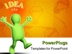 PowerPoint template displaying green figure in victory pose has idea light bulb