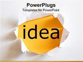 Idea on yellow background in a paper hole template for powerpoint