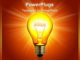 PowerPoint template displaying light bulb with a brilliant idea in it