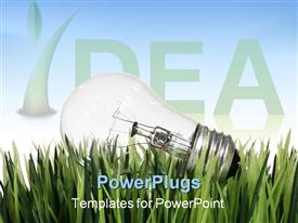 PowerPoint template displaying light bulb laying in the grass with an environmental theme in the background.
