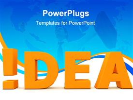 PowerPoint template displaying a large gold colored text  text which spells out the word