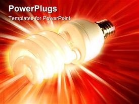 PowerPoint template displaying power saving light bulb on bright background