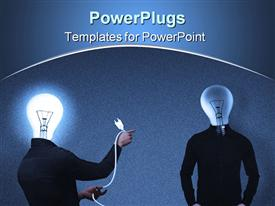 PowerPoint template displaying information and idea sharing metaphor with man with light bulb head about to plug in another person