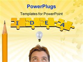 PowerPoint template displaying the word idea built from the puzzle pieces with pencil