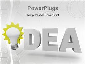 The word Idea with an illuminated light bulb powerpoint theme