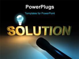 Golden shiny solution word in darkness highlighted by flashlight powerpoint template