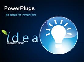 PowerPoint template displaying glowing light bulb in blue circle depicting innovation and bright ideas