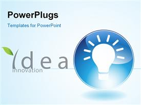 PowerPoint template displaying light bulb in blue circle depiction bright idea and innovation