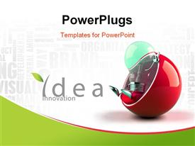 PowerPoint template displaying light bulb, could be a symbol for an idea, and being green