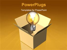 PowerPoint template displaying depiction 3D of green eco light bulb background
