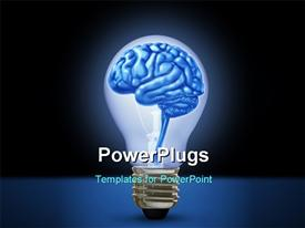 PowerPoint template displaying idea brain light bulb innovation brilliant bright light intelligence inventive in the background.