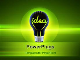 PowerPoint template displaying idea bulb over a glowing green background depicting innovation