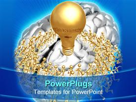 PowerPoint template displaying gold light bulb idea on brain with gold figures in circle around it