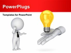 PowerPoint template displaying hand gives yellow light bulb to 3D man depicting ideas
