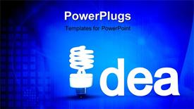 PowerPoint template displaying idea with light bulb, blue background, technology