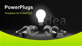 PowerPoint template displaying glowing light bulb depicting bright idea in middle with others around it