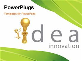 PowerPoint template displaying a golden bulb with a person and idea