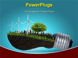 PowerPoint template displaying light bulb with trees, windmill, buildings depicting innovation