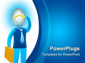 PowerPoint template displaying businessman with bulb head Concept of idea inspiration intelligence and invention in the background.