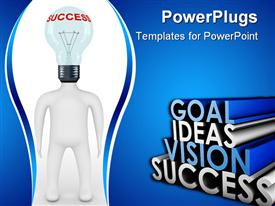 Person with head in the form of a bulb. 3D image powerpoint design layout