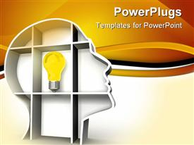 PowerPoint template displaying a bulb with yellowish background and place for text