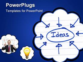 PowerPoint template displaying ideas circled and written in blue ink on white paper