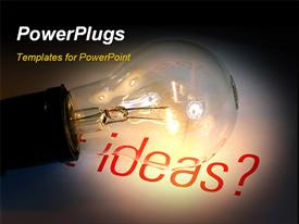 PowerPoint template displaying light bulb with ideas. Its suitable for creative setting